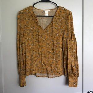 H&M mustard floral blouse